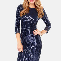 TFNC Paris Navy Blue Midi Sequin Dress