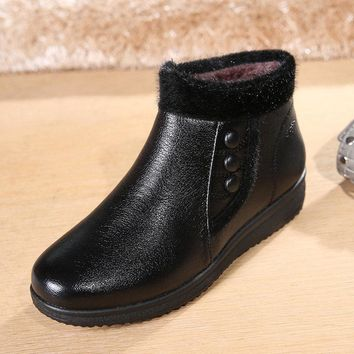 Button Black Folded Work Casual Ankle Flat Boots For Women