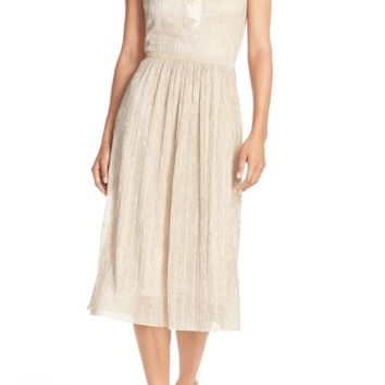 Tahari Metallic Pleated Midi Dress (Regular & Petite) | Nordstrom