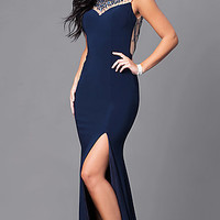 Long Navy Blue Prom Embellished Illusion Sweetheart Dress