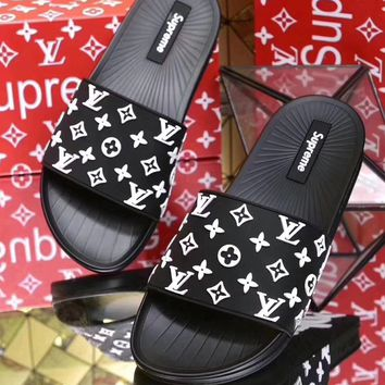 Trendsetter Supreme x Louis Vuitton Woman Men Fashion Print Slipper Sandals  Shoes