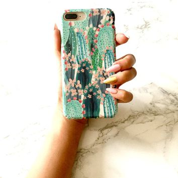 SUNNY DAYS Tropical iPhone X 8 7 6s 6 Case Tropical Cactus iPhone Case Anti-Scratch Shockproof Protective Trendy Summer Phone Case Cover