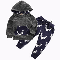 Baby Boys Girls Clothes Set Warm Outfits Deer Tops Hoodie Top + Pant Leggings Cute Animals Kids Baby Clothes