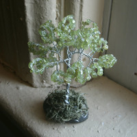 Peridot Awareness Tree, Miniature home decor, gemstone tree,  light green, raise  awareness,  Liver Cancer, Adrenal Cancer, support, hope