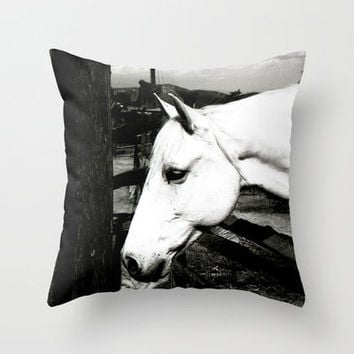 white horse Throw Pillow by Marianna Tankelevich | Society6