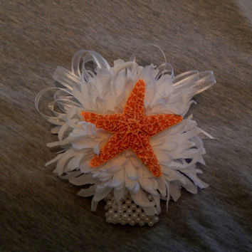 Made to Order- Starfish Wrist Corsage - Wedding Wrist Corsage- Prom - Homecoming Wrist Corsage