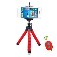 New Mini Flexible Tripod + Phone Holder Clip + Bluetooth Remote Shutter for Gopro Hero 3 4  for iPhone 6 7 Huawei Phone s7 s8