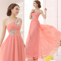Elegant Brief Dress One Shoulder Cheap Coral Bridesmaids Dresses Long Chiffon Dress 2016 New Simple Dress For Bridesmaids