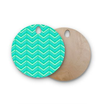 "CarolLynn Tice ""Symetrical"" Teal Turquoise Round Wooden Cutting Board"