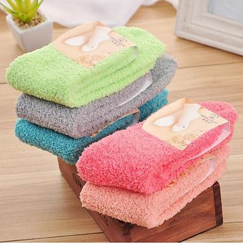 Coral Fleece Socks Candy Color Solid Winter Women Men Casual Warm Socks Plush Soft Thick Warm Socks#121