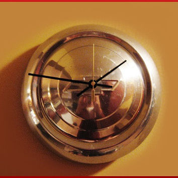 Man Cave Chevy Bow Tie Wall Clock Re-purposed Vintage 1950s Hub Cap