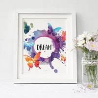 Dream print Watercolor Butterflies printable, Wall Decor, Home Decor, Poster Art