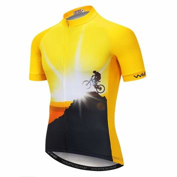 Weimostar Riding Men's Cycling Jersey Outdoor Sports Bike Shirt Top Cycle For Men Summer Mtb Road Yellow Green Black