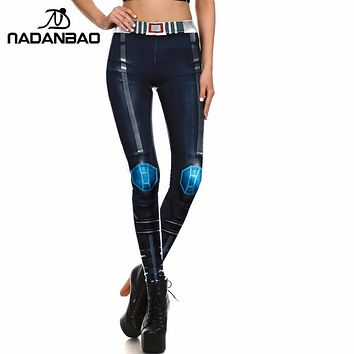 NADANBAO Brand Women Leggings Cosplay Movie Character legins Iron METAL Armour Leggins 3D Printed for Women Pans