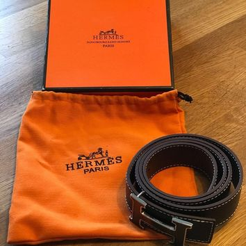 Hermes Ladies Black Leather Belt