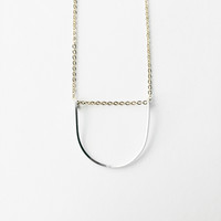 Sterling & Gold U shape Geometric Necklace