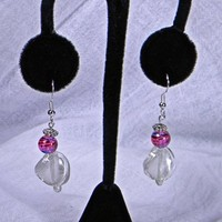 Frosted White Twisted, Pearl and Fuchsia Round Glass Bead Earrings