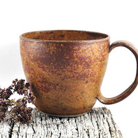 Large Coffee Cup Soup Mug Ceramic Handmade Pottery Rustic Speckled Brown Tea Cup by Dawn Whitehand on Etsy - Gift for Him