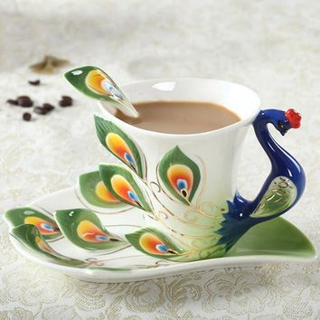 Exotic Peacock Coffee Cup With Saucer & Spoon (Green, Red, Blue, Yellow, Purple, Orange)