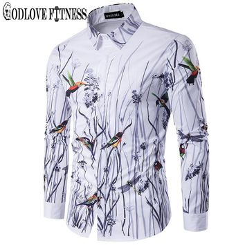 Spring New Fashion Flowers Birds Print Men Shirt Brand Clothing Lapel Camisa Masculina Long Sleeve Mens Shirts Casual Camisas