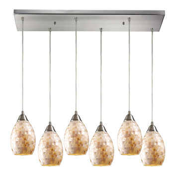 10141/6RC Capri 6 Light Pendant In Satin Nickel And Capiz Shell - Free Shipping!