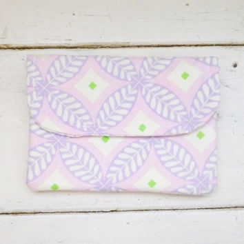 Fabric wallet, pink wallet, fully lined, coupon holder, velcro closure, floral fabric, cotton wallet, ready to ship, handmade, womens wallet