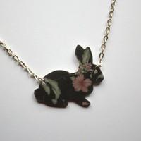 Black Rose Floral Bunny Necklace, kawaii, vintage, retro, cute, girly