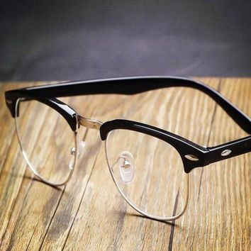 ONETOW Day-First? Black Vintage Inspired Classic Horned Rim Half Frame Clear Lens Glasses