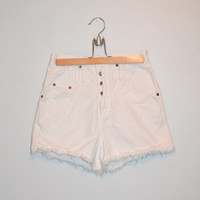 Vintage 90s Denim Shorts White Denim Cut Off Shorts High Waisted Cut Off Frayed Jean Shorts Size 7 Spring Summer Fashion Trends
