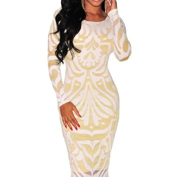 White Plus Victorian Net Nude Illusion Long Sleeves Dress