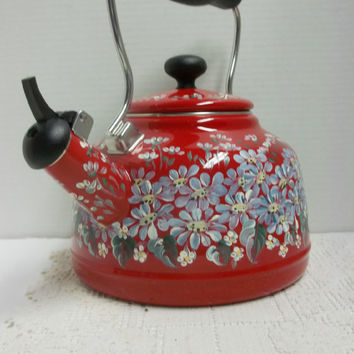 Chantal Tea Kettle, Red Enamel, Two Quart, Hand Painted, Scandinavian Style, Folk Art Design, My Blue Daisy Garden.