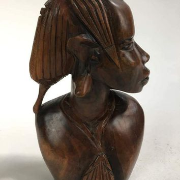Contemporary African Carved Wood Female Form Bust