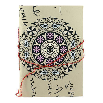 Cream colour Floral print design handmade paper Diary/Journal best use- writing, travel & Christmas gift