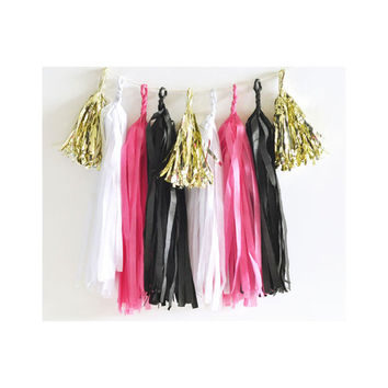 Paper Garland & Metallic Mini Tassels - 20 Tassel DIY Kit - Hot Pink Black White Gold Foil - Wedding Decor Party Bridal Shower Baby Birthday