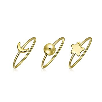Celestial Sun Moon Star Knuckle Midi Ring 1MM 14K Gold Plated Sterling