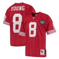 DCCKWV6 Mitchell And Ness 75TH 49ers #8 Steve Young Red Stitched Throwback NFL Jersey