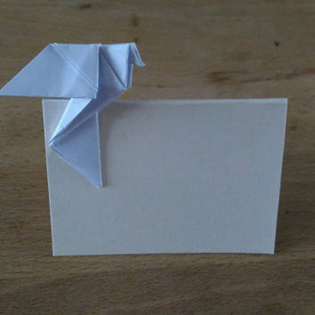 Wedding placecard, blank wedding place card, place card for wedding,wedding table decoration, Place card with dove, origami dove for wedding