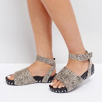 The March Animal Print Ankle Strap Sandals at asos.com