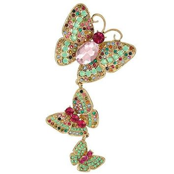EVER FAITH Womens Austrian Crystal 3 Butterflies Insect 48 Inch Pendant Brooch