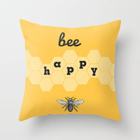 bee happy Throw Pillow by Erin Johnson | Society6
