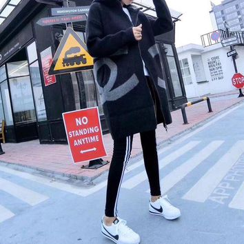 ONETOW Chanel' Women All-match Casual Fashion Letter Logo Long Sleeve Cardigan Middle Long Section Wool Hooded Coat