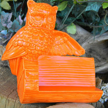 Owl business card holder office desk decor ceramic glazed- Vintage Design