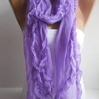 Lilac Curly Shawl/Scarf - Headband Necklace