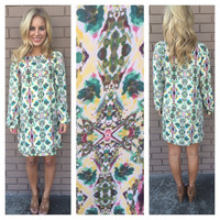 Teal Reflections Long Sleeve Shift Dress