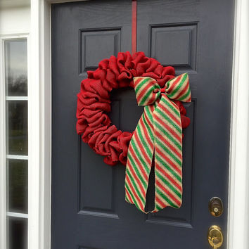 Red Christmas Burlap Wreaths Red Green Stripes Red Holiday Door Wreath Fun Wreath