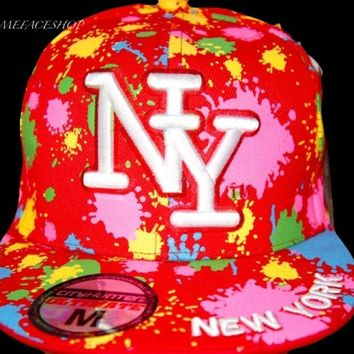 Paint Splash Red Flat peak caps, NY multi fitted hats, bling, New York SALE