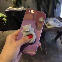 3D Cute Squishy Purple Cat Phone Case Cover for iPhone 6 6S 7 7 Plus Funny Poke Animal Lovely Panda Rabbit For iphone 7 7plus