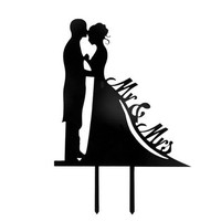 Hot Party Mr & Mrs Bride & Groom Acrylic Wedding Day Cake Topper Silhouette