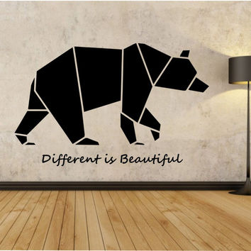 Origami Bear Wall Decal Different is Beautoful Sticker Art Decor Bedroom Design Mural quotes animal art