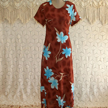 Medium Petite Maxi Dress Short Sleeve Tropical Long Hawaiian Dress Brown Blue 90s 1990s Vintage Clothing Womens Clothing